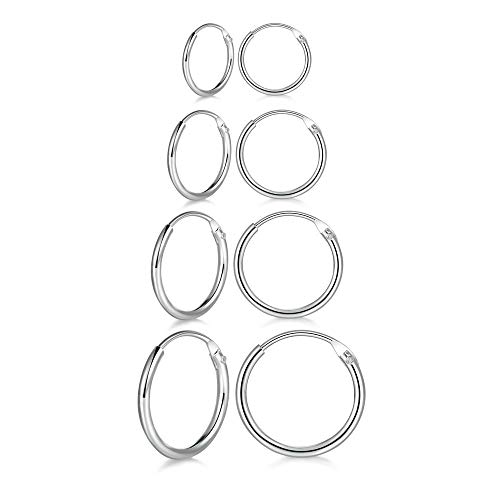 4 Pairs Sterling Silver Cartilage Small Hoop Earrings Set Hypoallergenic 14K White Gold Plated Endless Helix Tragus Earrings Nose Lip Rings, 8mm 10mm 12mm 14mm