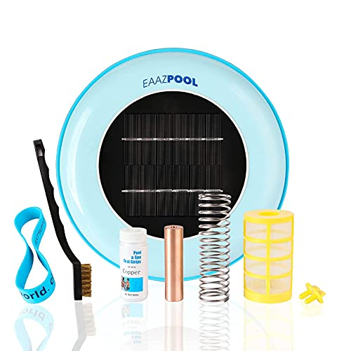EAAZPOOL Solar Pool Ionizer - High Capacity   85% Less Chlorine   Pool Cleaning Device   Backed by 1 Year Warranty   Kill Algae   Longer-Lasting Copper Anode   25% More Ions   Up to 45,000 Gal
