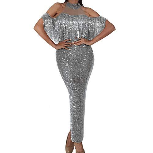 Briskorry kleider damen Sexy abendkleider lang elegant Abendkleid edle cocktailkleid eng Halfter Patchwork Leuchtenden Gittergewebe Aushöhlen Quaste Split Paket Hip Kleid partykleid damen glitzer
