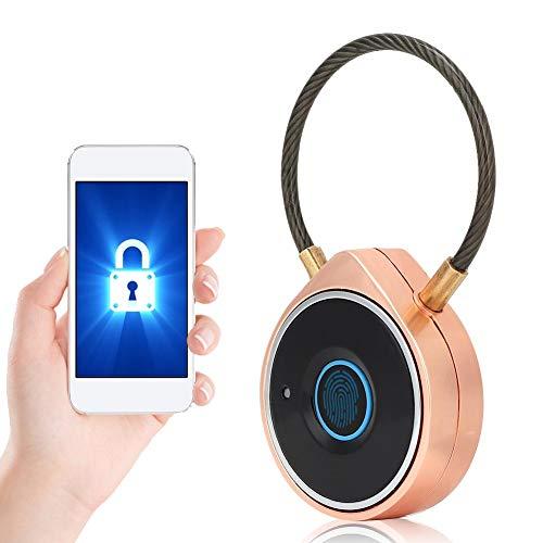 Candado de Huellas Dactilares, Candado Bluetooth Inteligente de Huellas Dactilares W09, Soporte de Bloqueo de Seguridad Recargable USB con Viga de Acero para Puerta Exterior, Gimnasio, Bicicle