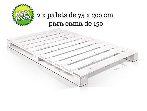 Dydaya 2 x Palets de Madera Pintados de Blanco 75 x 200 x 15 cm para Cama & Colchón de 150 x 200 & Estructuras & Base de Camas Matrimonial Juveniles, Originales