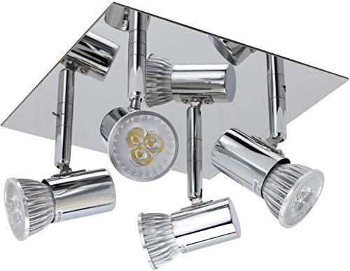 LED 4-flammige Deckenleuchte - Schwenkbar Baddeckenleuchte mit 4x 5W GU10 Fassungen Rechteckige Deckenstrahler Modern Wohnzimmer LED Deckenspot für Küche Flur Schlafzimmer
