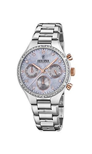Festina Damen Chronograph Quarz Uhr mit Edelstahl Armband F20401/3
