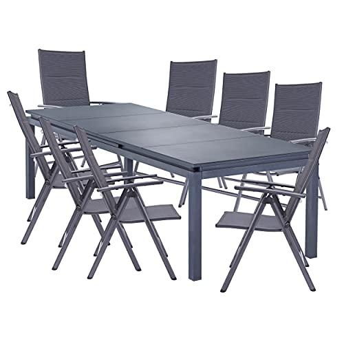 Naterial - Gartenmöbel-Set - Ausziehtisch ODYSSEA 256/320x100cm und 8 Hochlehner Klappstühle - Aluminium - Anthrazit
