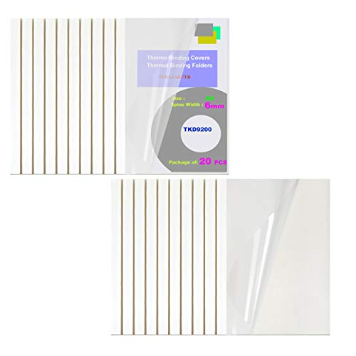 TUKA-i-AKUT 20x 6mm Copertine per Rilegatura Termica, A4 Cartelline Termiche, Larghezza Dorso 6 mm - Capacità 60 Fogli, Fronte trasparente, 20 pz, Bianco Colore, TKD9200-A4-white-20x