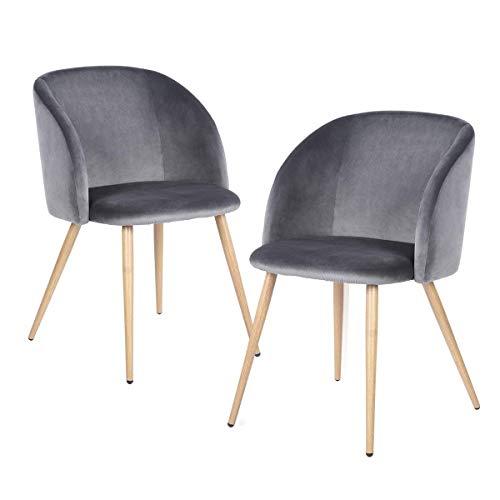 H.J WeDoo 2er Set Vintager Retro Stuhl Sessel Polstersessel Samt Lounge Sessel Clubsessel Fernsehsessel mit hölzernen Metallbeine (Grau)