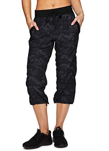 RBX Active Women's Fashion Lightweight Woven Body Skimming Camo Print Drawstring Capri Pant with Pockets Black Camo M