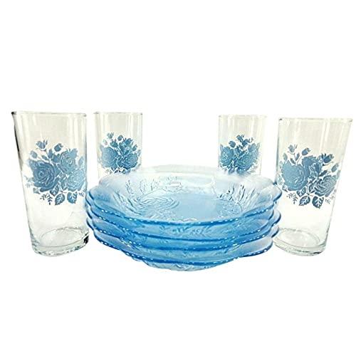 Vajilla de vidrio para 4 personas de 8 piezas con Rosas Crisa