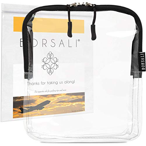 TSA Approved Clear Travel Toiletry Bag -Quart Size Cosmetic Bag for Travel -Carry On &Organize 3-1-1Liquid Toiletries & More