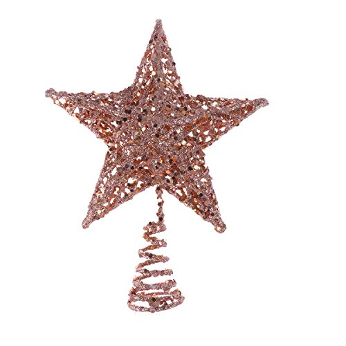 PRETYZOOM 20cm Christmas Tree Iron Star Topper Glittering Christmas Tree Decoration Ornaments (Rose Gold) Party Favor