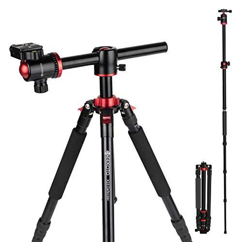 Geekoto Stativ Kamera 190cm, für Canon Nikon Sony Dslr 2 In 1 Aluminium Einbeinstativ mit 360 Grad Kugelkopf und Horizontaler Mittelsäule,Professionelles Horizontales Stativ für Reisen und Arbeiten