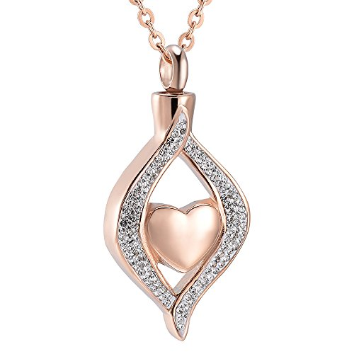 Crystal Teardrop Heart Cremation Urn Pendant Memorial Necklace for Women Stainless Steel Ashes Holder Keepsake Jewelry (Rose Gold)