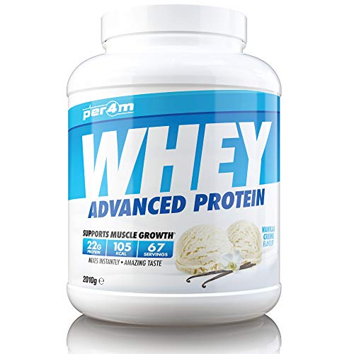 PER4M Protein Whey Powder | 67 Servings of High Protein Shake with Amino Acids | for Optimal Nutrition When Training | Low Sugar Gym Supplements (Vanilla, 2010g)