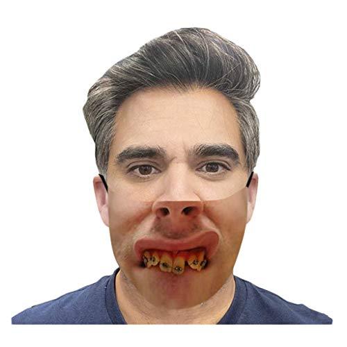 Lialbert Mundschutz Multifunktionstuch 3D Druck Lustig Bandana Maske Waschbar Wiederverwendbar Stoffmaske Bedeckung Atmungsaktiv Mund-Nasenschutz Mund Nasen Motiv Halstuch Schals für Herren Damen