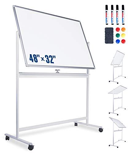 Pizarra blanca portátil Dry Borase Board con soporte, marco de aluminio giratorio 360°, doble cara para oficina, hogar, escuela o niños