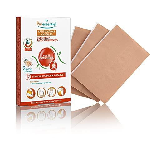 Puressentiel – Pure Heat – Articulations & Muscles - Patchs chauffants aux 14 Huiles Essentielles – Effet Chauffant Naturel – Aide à soulager les douleurs musculaires et lombaires – 3 patchs