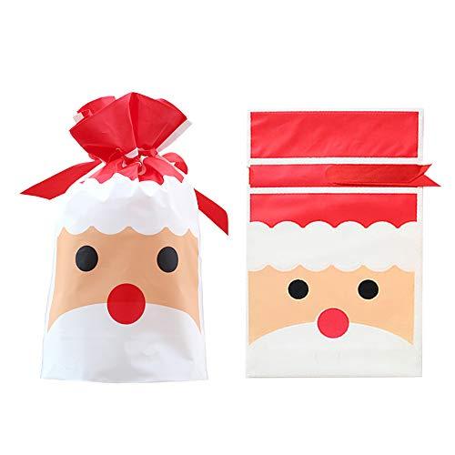 50 piezas Bolsas de regalo con cordón navideño Bolsas de dulces navideñas...