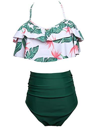 Echinodon Mädchen Bikini Set Zweiteiler Neckholder Bademode mit Rüschen Blumen Kinder Badeset Schwimmanzug Grün 140