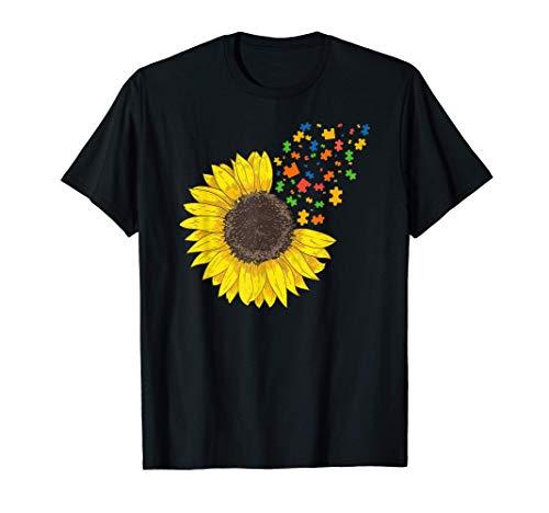 Sunflower Autism Awareness Month Sunflower Puzzle Pieces Camiseta
