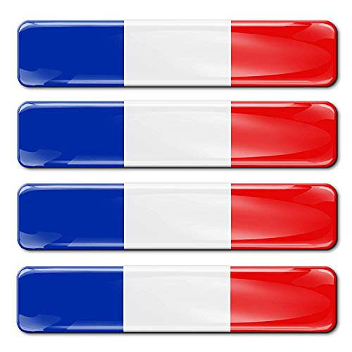 Biomar Labs® 4 x Aufkleber 3D Gel Silikon Stickers Frankreich France Französische Flagge Fahne Flag Autoaufkleber F 8