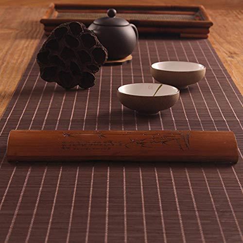 Bloem bamboe tafel vlag geweven matten Japanse lopers hebben de neiging tafelkleed Kung Fu Tea Set desktop decoratieve accessoires,60x100cm,koffie