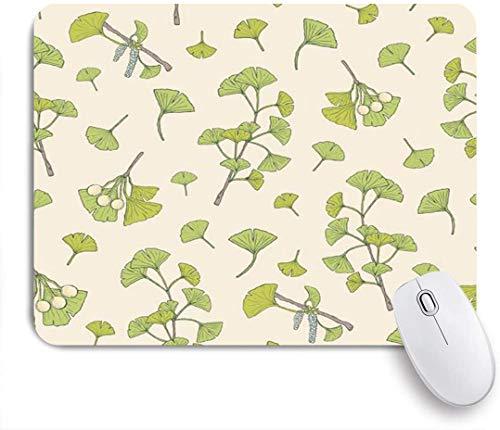 NANITHG Tapis de Souris Gaming,Phytothérapie Floral Botanique Vert Ginkgo Biloba Nature Feuilles Élégantes,Mouse Pad Surface spéciale améliore la Vitesse et la précision Base