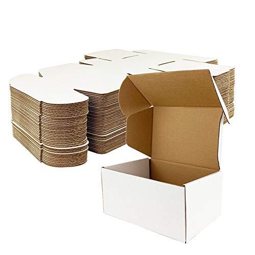 Giftgarden Caja de Cartón Craft 10.2x10.2x5.1 cm,Color Blanco,Cajas de Carton para Envíos Corrugado,25 Unidades