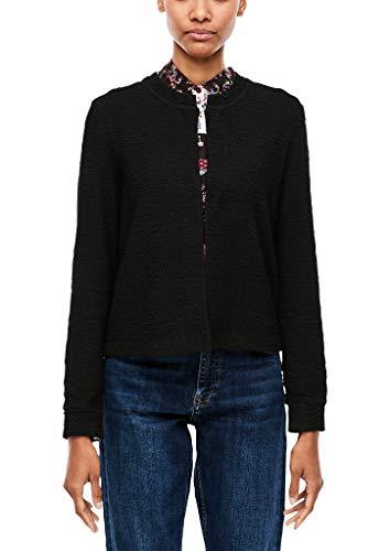 s.Oliver RED Label Damen Sweatjacke mit Crinkle-Effekt Black 46