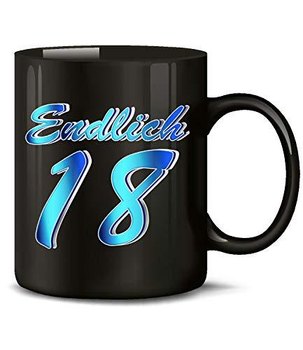 Endlich 18 Volljährig Tasse Becher Kaffeebecher Kaffeetasse Geschenk zum Geburtstag Geburtstagsgeschenk für geburtstagsdeko Deko Happy Birthday Artikel Ideen Geburtstagstasse
