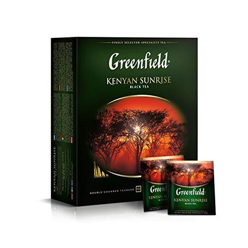 GREENFIELD KENYAN SUNRISE | Schwarztee | Hochwertiger Schwarzer Tee | 100 Frühstücksteebeutel | 100 tea bags| Kenia | Frühstück Tee | Koscher | Gluten-frei | 100 Doppelkammerbeutel im Einzelkuvert