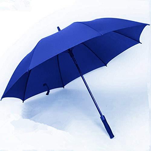 TONGS Automatisch Gerade Doppelschicht Golf Regenschirm,Draussen Sonnenschirm,Bergsteigen,Freizeit,Regenschirm,Doppelt Rippe Gemütlich Griff/Blau / 125 cm