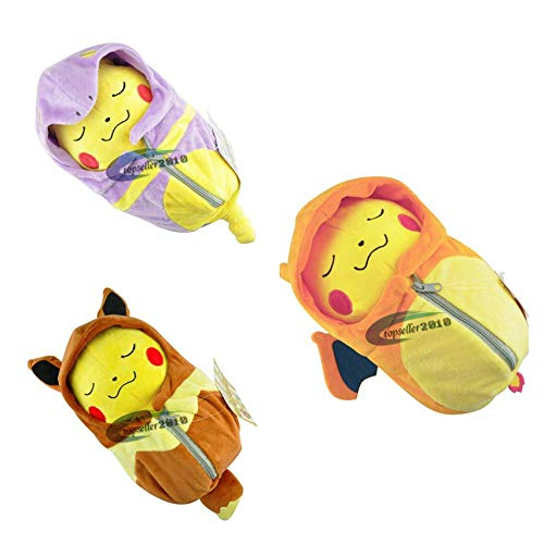 DOUFUZZ Süße Pokemon Spielzeug Cartoon Schlafsack Pikachu Eevee Plüsch Spielzeug Kissen gefüllt Anime Puppe Kinder Geburtstagsgeschenk