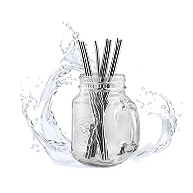 Concide Set of 8 Stainless Steel Straws Ultra Long 10.5'' Drinking Metal Straws For 30oz Stainless Tumblers Rumblers Cold Beverage (4 Straight Straws + 4 Bent Straws + 1 Pipe Cleaner)