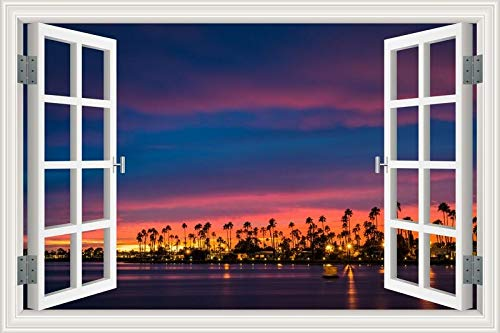 Summer Beach Sunshine Coconut Tree palm sunrise sunset sky sea clouds Paisaje paisaje etiqueta de la pared 3D Ventana view PVC Decal dormitorio decoración mural poster