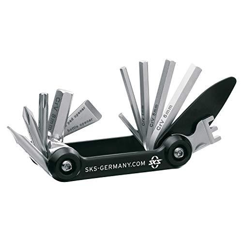 SKS GERMANY TOM 14 Mini-Tool Multifunktionswerkzeug Fahrrad, inkl. Neoprentasche (Miniwerkzeug Rad, 14 integrierte, aus rostfreiem Stahl/Aluminium, Werkzeug-Funktionen ), Schwarz/Silber