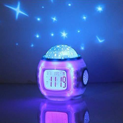 Wecker, Digital-Warnung Kinder for Clock Bett und Musik Kreative Bunte Thawing elektronische Uhr-Stern-Projektions-Taktgeber Student der Kinder Verwenden DOO YuZhiGang