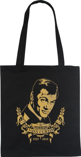 WIZUALS In Memoriam TONY CURTIS Designer Fun Beutel tote bag Baumwolltasche, schwarzgold