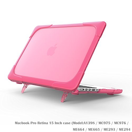 Wtiaw Compatible:MacBook Pro Retina 15 Inch case(NO CD-ROM,NO Touch Bar),[Heavy Duty] [Dual Layer] Hard Case Cover with Breathe and Cool Itself Freely TPU Bumper Cover (Model:A1398)-Rose Red