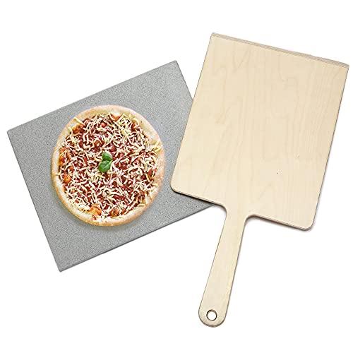 Splittprofi Juego de piedra para pizza y pala para pizza | piedra natural premium de 40 x 30 cm en juego con pala de 30 x 35 cm | piedra caliente XXL para horno, parrilla de gas, barbacoa de carbón