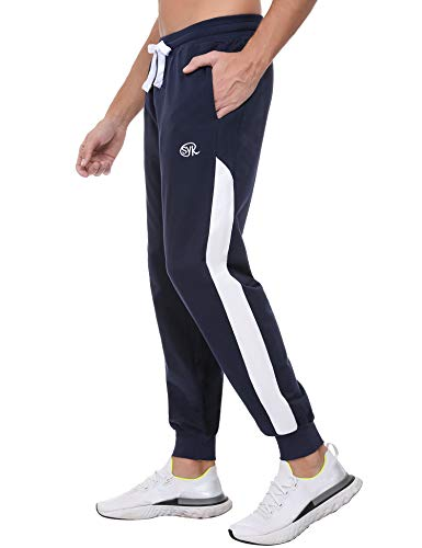 Sykooria Herren Jogginghose Trainingshose 100{ab99458d055a5d2e716b6d6c0e0d4ec36dfac22806f837b770d12cc580f6a66d} Baumwolle Fitness Hosen Sweatpants Jogger Männer Mode Kontrast-Stripes Blau, XL