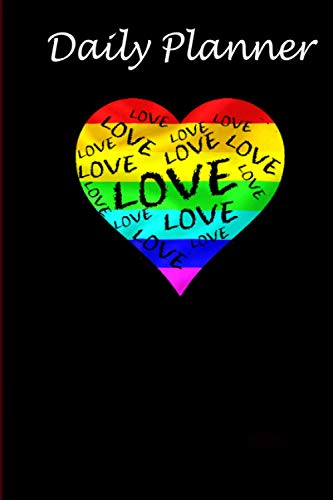Daily Planner - LGBT Rainbow Heart Love notebook Women Men Gay Pride tee: Daily planner, 6x9 inch, 136 pages - Birthday gift ideas for kids men women
