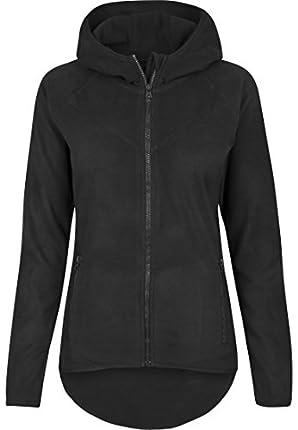 Urban Classics Polar Fleece Zip Hoodie Sudadera con Capucha, Negro (Black 7), M para Mujer