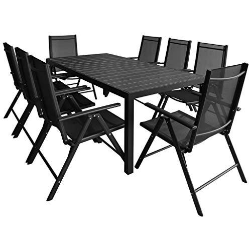 Tidyard Sitzgruppe 8 + 1 Aluminium 7-Fach verstellbare Hochlehner Stühle Tisch mit WPC-Tischplatte Schwarz Garten Set