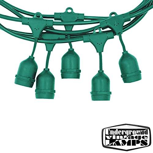 Guirnaldas luminosas de exterior, 10 Portalámparas con Calata E27 12,5 metros IP65 uso externo extensible impermeable (verde)