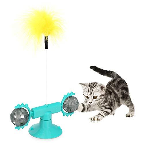 peinat 360°Giratorio Juguetes para Gatos Interactivos, Hierba Gatera Juguete Gato de Molino de Viento, Juguetes Gatos con Ventosa, Juguetes Gato con Pluma y Bola Interactivas