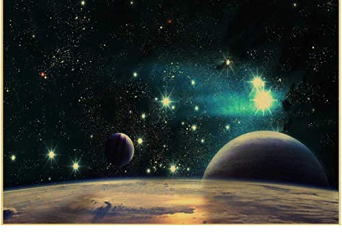 HUYUEXIN Canvas Poster New Vinate Nine Planets In The Solar System Poster Coffee Bar Room Decor Living Room Retro Wall Sticker Art Painting 50 * 70Cm Value For Money No Frame