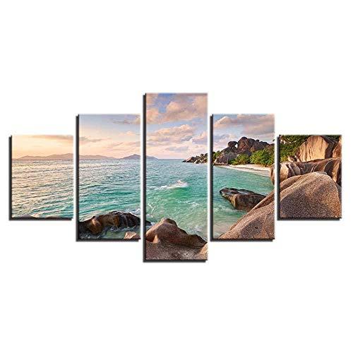 WRZWRM Seascape Prints Decor Wohnzimmer Wandkunst 5 Stücke Riff Stein Und Blau Meerwasser Gemälde Poster Leinwand malerei 5