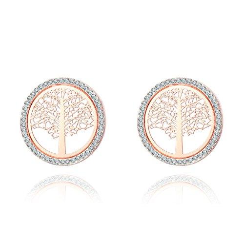 Orecchini da donna albero della vita decorati con cristalli di zircone - orecchini pendenti in acciaio inossidabile anallergico per ragazze, colore: placcato oro rosa, cod.