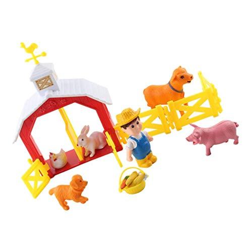 T TOOYFUL Diy Miniatur Bauernhof Tiere Zaun Kinder Kinder Pädagogische Szene Spielzeug - S2