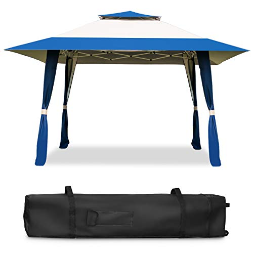 CASART. 4X4M Outdoor Canopy Tent, Pop Up Double Layer Gazebo with Carrying Bag, Garden Patio Wedding Party Marquee Tents Shelter, Blue +Beige